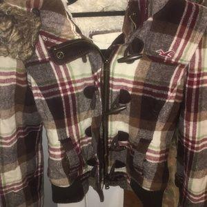 Hollister plaid furry winter jacket